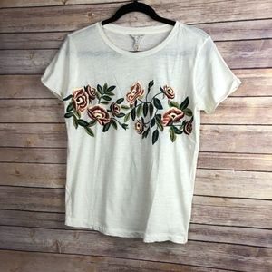 Lucky Brand Rose Embroidered Tee - NEW